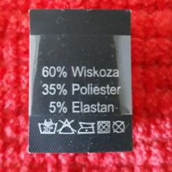 Wszywka skład surowcowy,przepis prania WISKOZA 2749