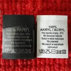 Wszywka skład surowcowy,przepis prania AKRYL 2776