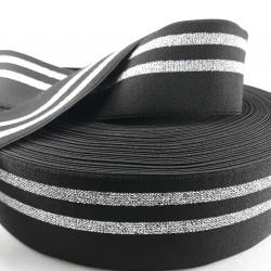 Guma ozdobna czarno -srebrna 50mm/1m 3013
