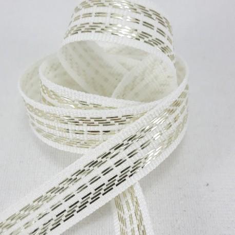 Taśma ozdobna biało złota 9mm/1m 2359 - 14924