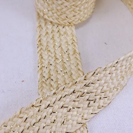 Sznurek poliestrowy płaski ecru ze złotem 20mm/1m 3121 - 15344
