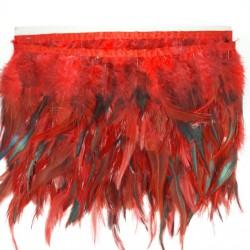 Pióra na taśmie 13cm /1y czerwono czarne 3439