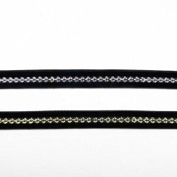 Taśma ozdobna 10mm czarna ze złotem i czarna ze srebrem 2142
