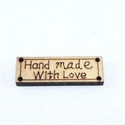 Etykieta/naszywka drewniana HAND MADE nr 2201