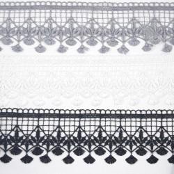 Koronka gipiurowa biel, czerń, szarość 70mm nr 2258