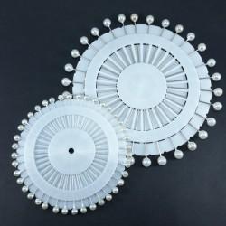 Szpilki dekoracyjne Białe Perła - krążek